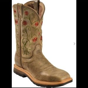 Twisted X Floral Stitched Cowgirl Boots 8 1/2 Wide